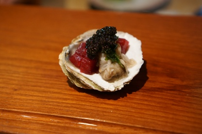 raw oyster from Brittany served with tuna and caviar