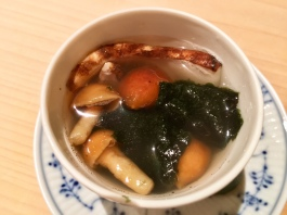 soup made from bonito and seaweed broth with maitake mushrooms