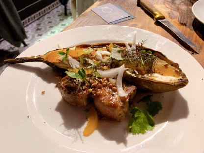 Roasted eggplant with pork and citron confit